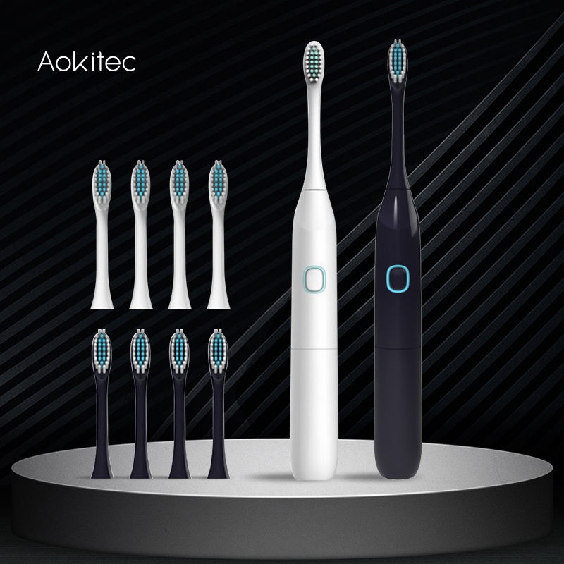 Aokitec Electric Sonic Toothbrush 50% OFF Replacement Heads Battery Automatic Waterproof Tooth Brush Deep Cleaning Oral Hygiene