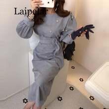 Женское вельветовое платье с поясом повседневное винтажное Вечерние