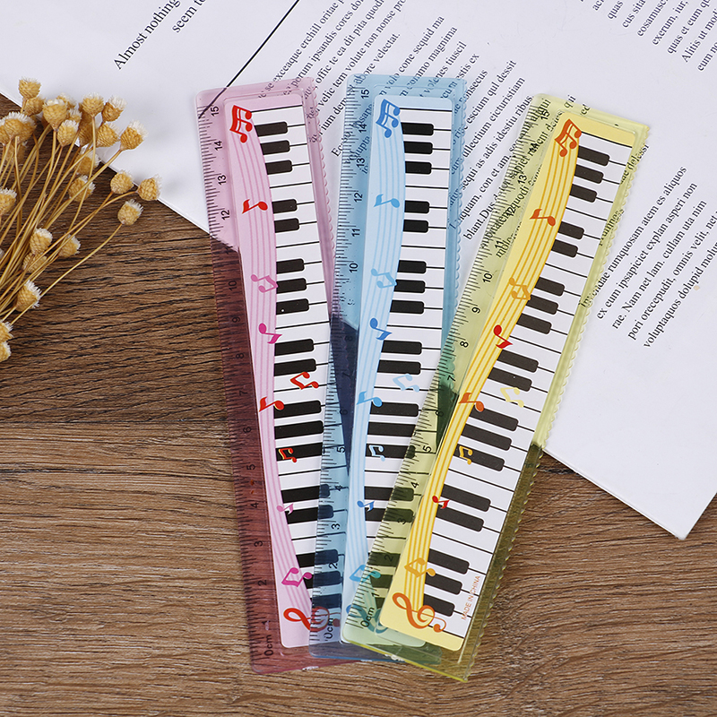 1Pcs 15cm Straight Ruler Cute Cartoon Piano Musical Note Ruler Bookmarks School Student Ruler Gift Ruler Color Random