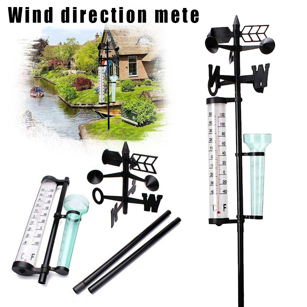 Garden Outdoor Weather Station Meteorological Measurer Vanes Tool Wind Rain Gauge Thermometer JHP-Best
