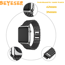 цена на New Luxury Watchband for Apple Watch 42mm 38mm Band Gold Stainless Steel Beads for iwatch 1 2 3 Series Strap Steel Bracelet Belt