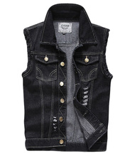 Men's Ripped Denim vest men's Euro size Fashion Cowboy Sleeveless Casual Slim Waistcoat Men'sHip Hop Jean Coats S-5XL maggie carpenter cowboy s rules