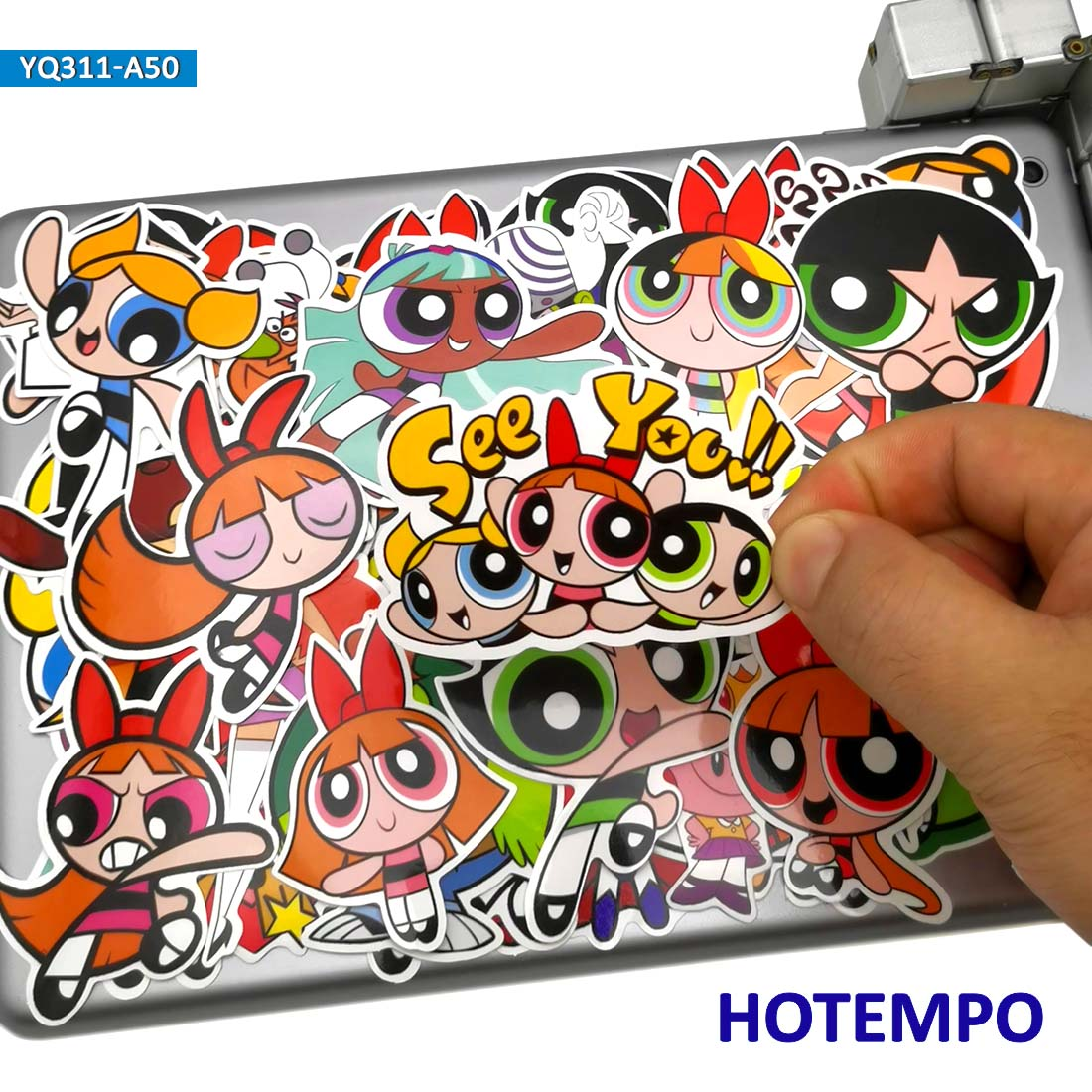 50pcs Cute Anime PPG Blossom Bubbles Buttercup Stickers Toys For Kids Stationery Mobile Phone Laptop Suitcase Cartoon Stiickers