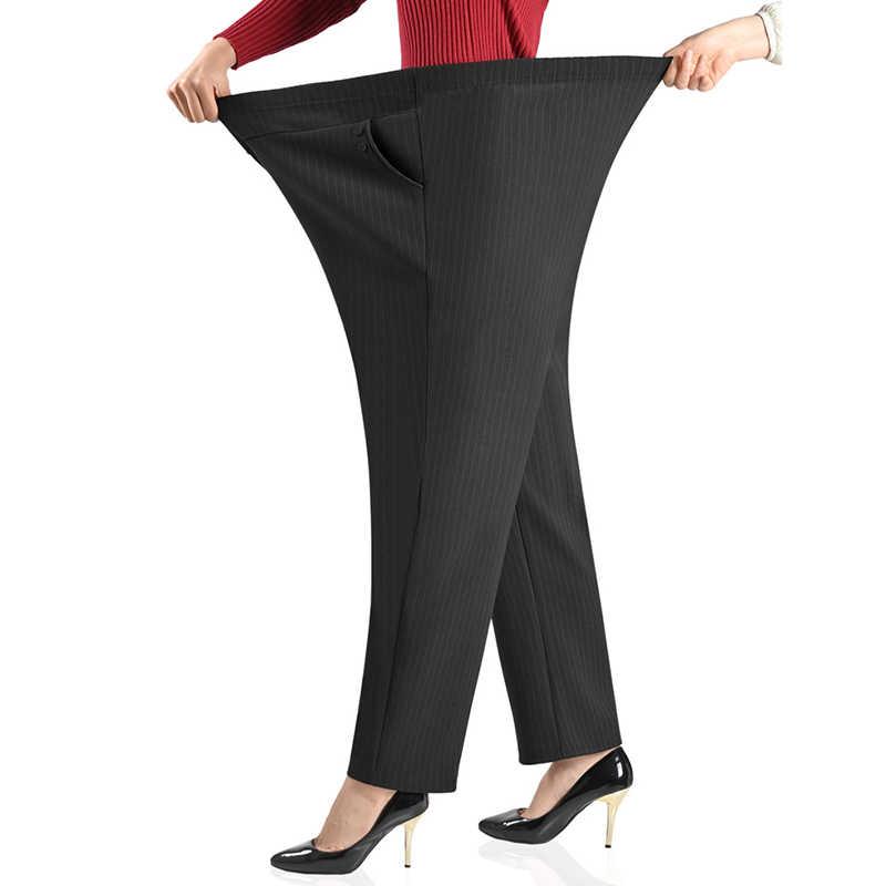 초대형 사이즈 여성 바지 느슨한 높은 탄성 탄성 바지 중년 의류 6XL 7XL 8XL 가을 바지 여성 바지 J400