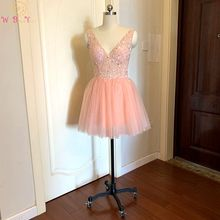2020 Blush Pink Prom Dress Short Beading Crystal V Neck Sleeveless Tulle A Line Evening Gown Formal Party Graduation Real Photo
