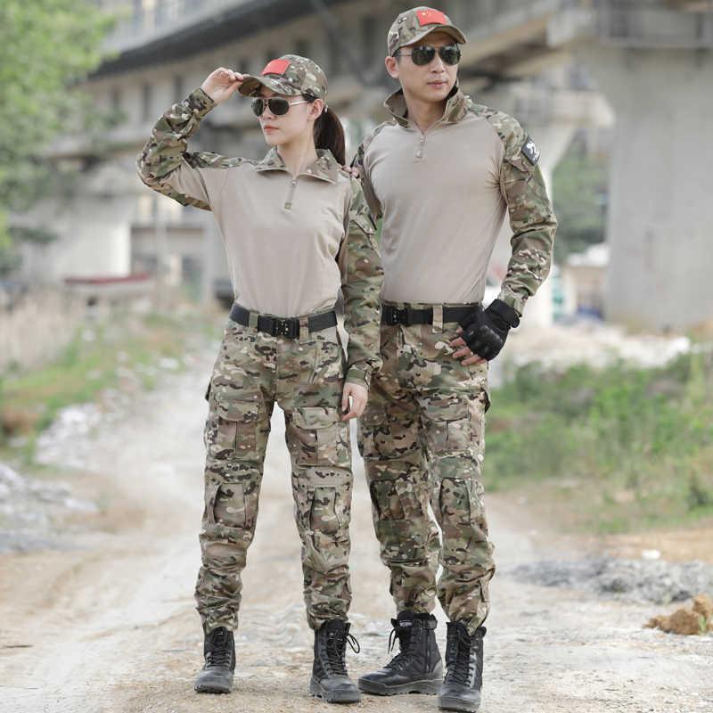 Tactische Camouflage Militaire Uniform Kleding Pak Mannen Vrouwen Ons Leger Kleren Militaire Vest Combat Shirt + Cargo Broek Kniebeschermers