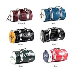 Image 4 - New Men Soft Leather Barrel Travel Bag Fashion High Capacity Bag For Men Waterproof Shoulder Luggage Bolsa Deporte Duffel Bag
