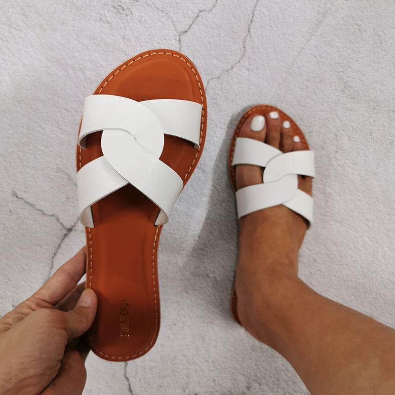 Summer Shoes Beach Slipper Fashion Brand Leather Slippers Wild Female Sandals Original Outdoor Slides White Women Slippers