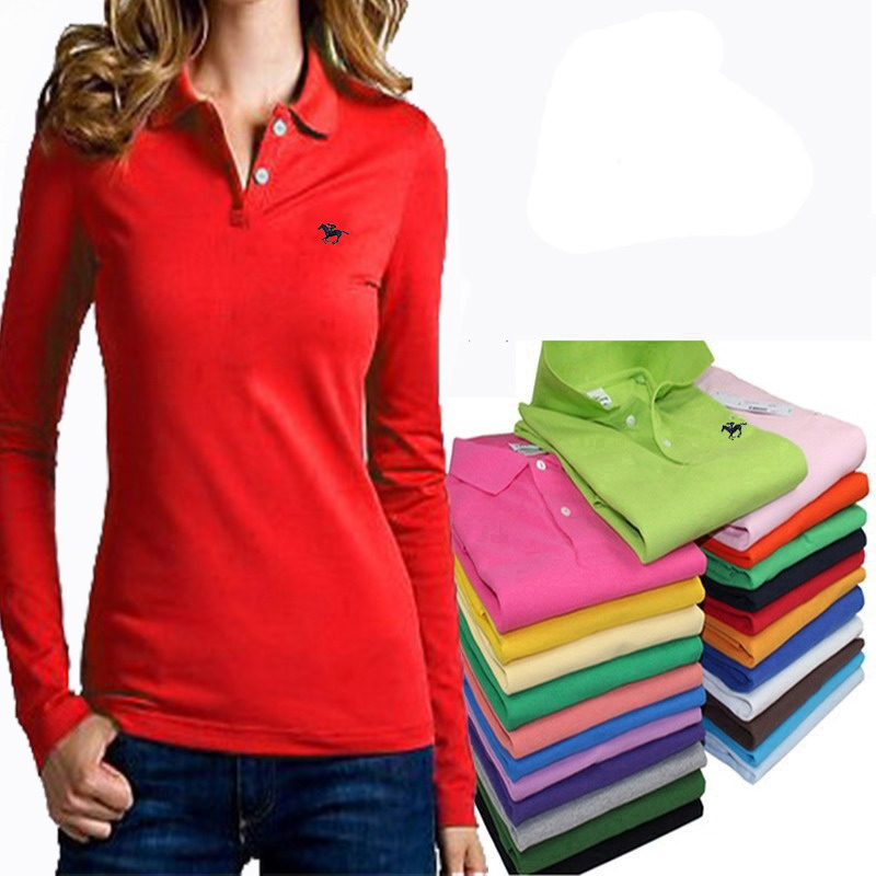 High Quality Women's Long Sleeve Polos Shirts Horse Embroidery Casual Womens Casual Lapel Tees Cotton Slim Female Tops Tees XXL