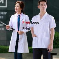 Uniformes médicos impresos con Logo gratuito Doctor abrigos blancos uniformes médicos mujeres enfermera ropa de trabajo mujeres o hombres protegen vestido de laboratorio