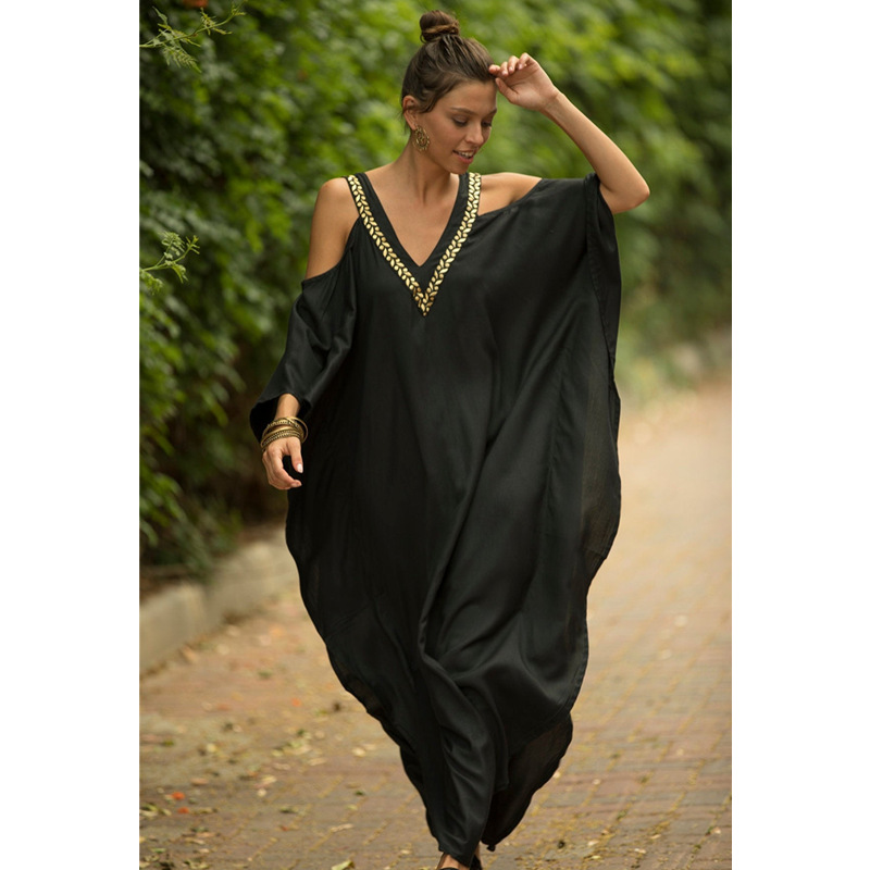 2019 Black Women Kaftan Beach Sarong Bikini Cover Up Tunic Beach Dress Pareo Swimsuit Swimwear Beachwear Bathing Suit