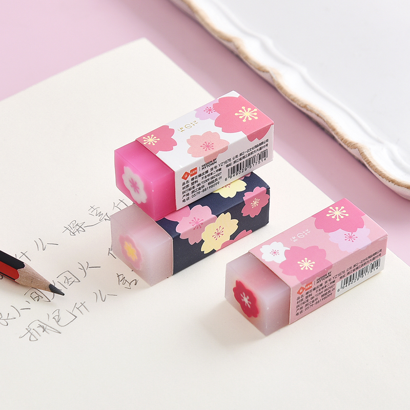 Mohamm Cute Japanese Flower Printed Cherry Blossom Rubber Eraser Student Office School Correction Supplies Stationery