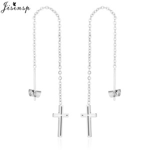 Jisensp Simple Stainless Steel Long Chain Dangle Earrings for Women Girl Punk Style Cross Earing Ear Line oorbellen femme