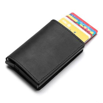 Hot prawdziwej skóry Rfid etui na karty kredytowe portfel człowiek Retro mały posiadacz karty Trifold Crazy Horse portfel na karty mężczyźni Slim etui na karty tanie i dobre opinie CN (pochodzenie) Krótki Moda YWTOO9 Uwaga przedziału Unisex Standardowe portfele 10*6 5*1 5cm(3 9*2 6*0 6inch) 9 5*6 5*1 5cm(3 7*2 6*0 6inch)