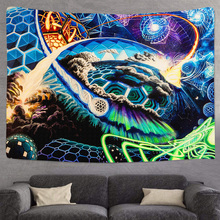 Wall-Tapestry Hanging Psychedelic Boho-Decorations Astronaut Celestial 3D Planet Polyester