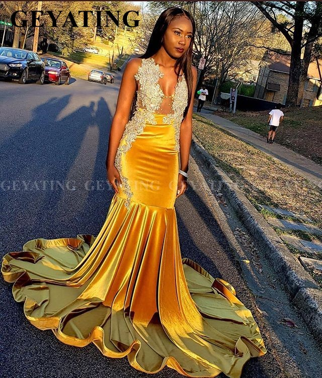 Black Girls Mermaid Velvet Gold Yellow African Prom Dresses 2k20 Sexy Gala Dress Plus Size Long Train Graduation Evening Gowns