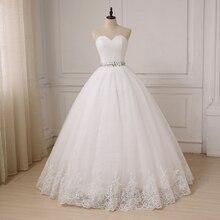 Jiayigong ucuz düğün elbisesi Robe De Mariee boncuk kemer balo sevgiliye kolsuz tül gelin elbiseler Vestido De Noiva