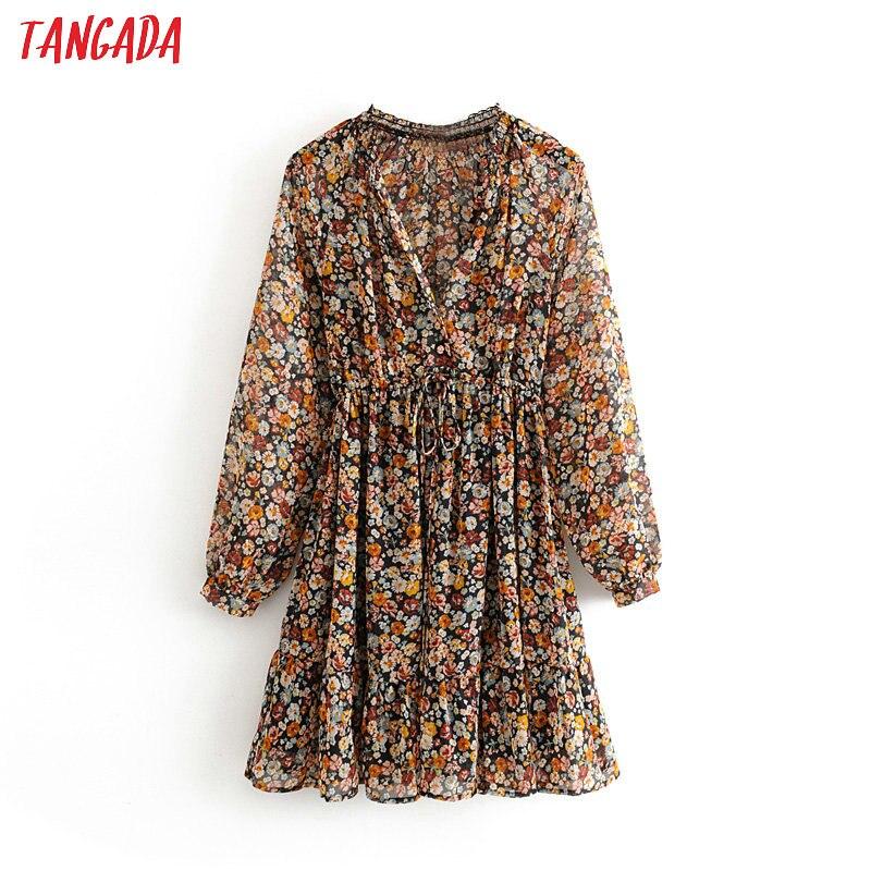 Tangada Fashion Women Sweet Flowers Print Chiffon Dress V Neck Stretch Waist Long Sleeve Ladies Mini Dress Vestidos 3H361