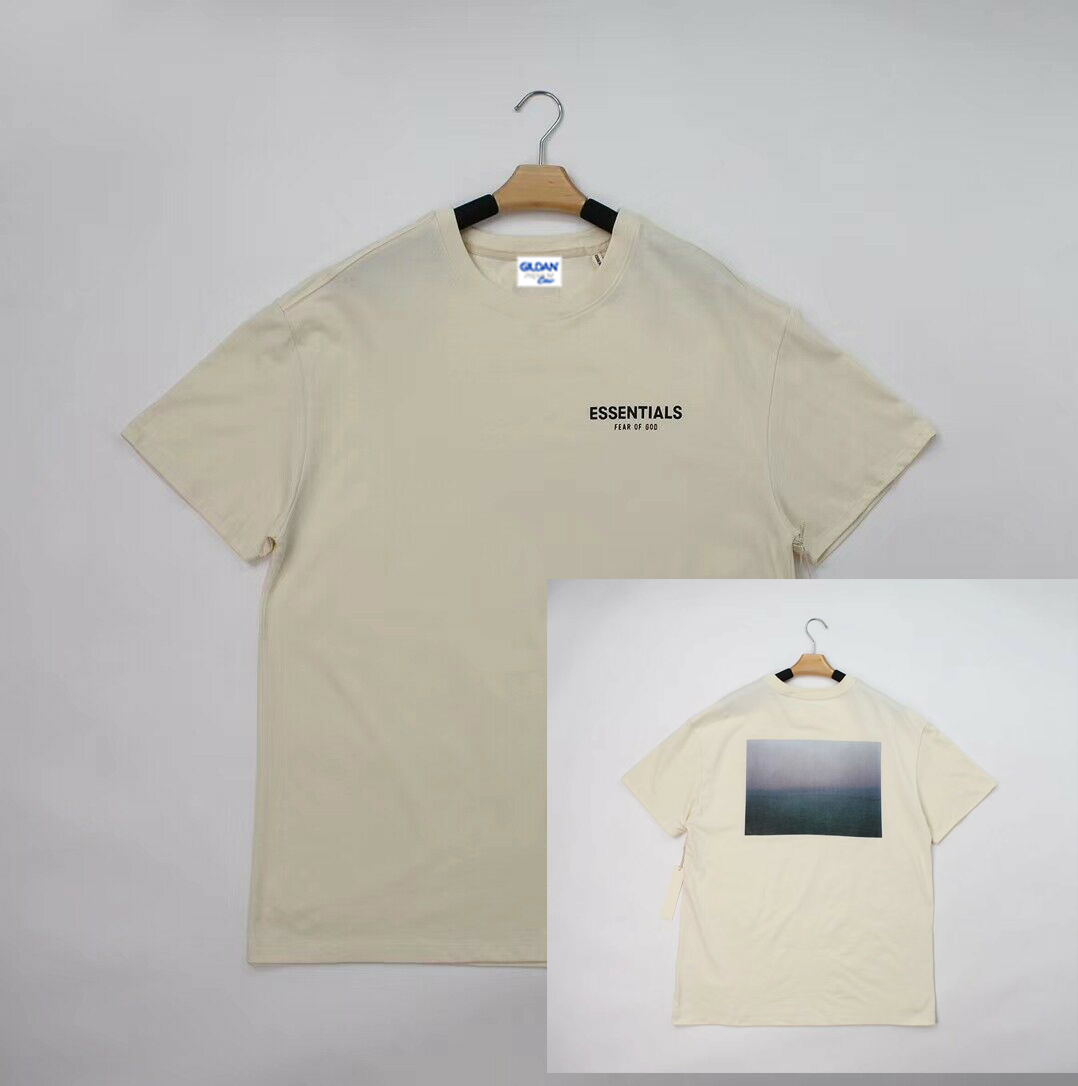 Fear God Fog Essentials Boxy T-Shirt Solid Cream Photo Tee 19 New Unisex Size S-3Xl
