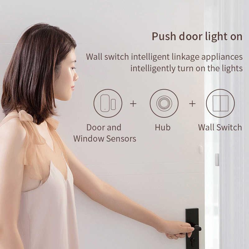 Aqara ağ geçidi 3 Hub akıllı ev Zigbee ses kontrolü kapı sıcaklık nem sensörü ile çalışır Xiaomi Mi ev Apple Homekit app