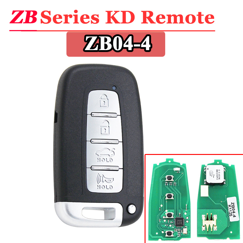 Free Shipping (1 Pcs)KEYDIY 4 Button ZB04 Smart Key Keyless Go ZB Series KD Remote Key For KD900 URG200 KD-X2