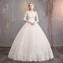 Gryffon Wedding Dress 2019 Half Sleeve Luxury Lace Up Ball Gown Princess Lace Embroidery Wedding Dresses Plus Size Gowns