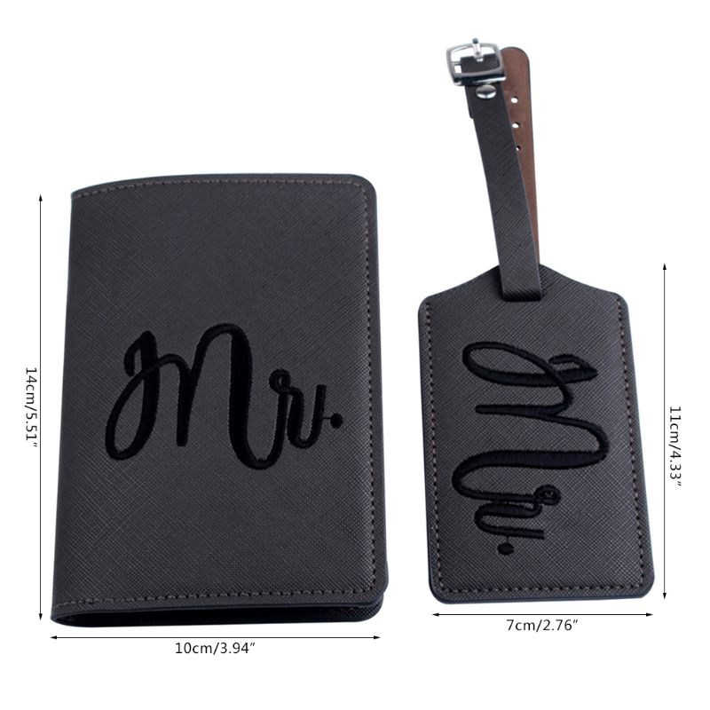 1Set Leather Luggage Tag Embroidery Mr./Mrs. Passport Case For Couples Honeymoon 517D