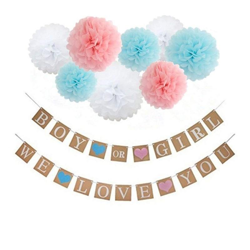 Boy Or Girl Banner Kraft Flag Hanging Paper Flower Ball Set DIY Baby Shower Decorations Gender Reveal Party Supplies
