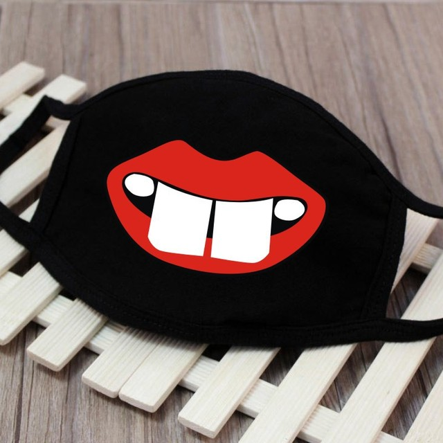 1pc Cute Unisex Funny Tooth Dust Mask Lips Fangs Cotton Mask Cartoon Kpop Flu Mask Emotiction Masque Hot 3