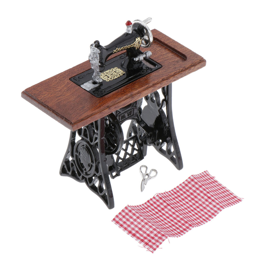 1:12 Scale Dollhouse Sewing Machine Model Handcraft Toy For Dollhouse Furniture And Decorations Kit
