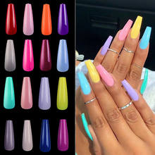 100pcs Press on Colored Nail Tips Acrylic French Coffin Clear Ballerina Artificial Full Cover Long Fake False Nails For Manicure