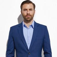 Custom Pak Donkerblauw Plaid Tailor Made Mannen Pak Fashion Custom Made Slim Fit Glen Plaid Twee Stuk Pak casual Kostuum Homme