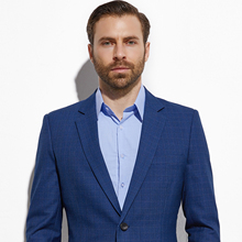 Traje a medida de tartán azul oscuro para hombre, traje a medida de moda, traje ajustado a cuadros de dos piezas, traje informal para hombre