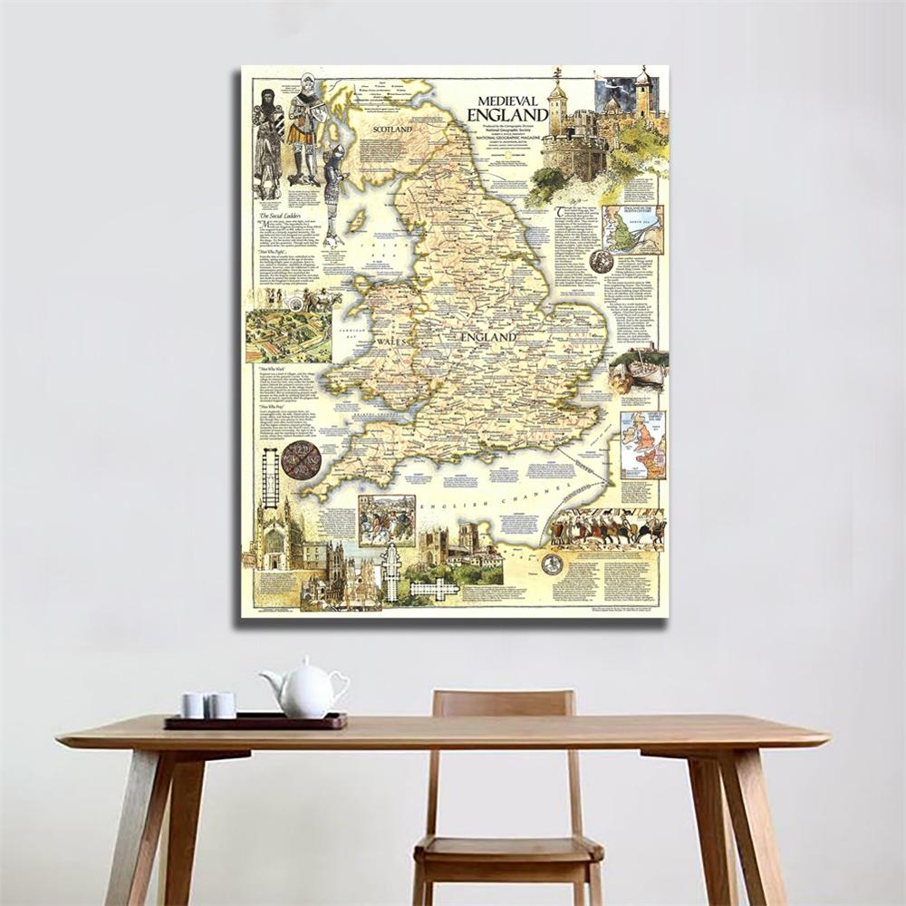 A1 Size HD Printed Unframed Vintage Map Of Medieval England In 1979 Edition For Living Room Wall Decor