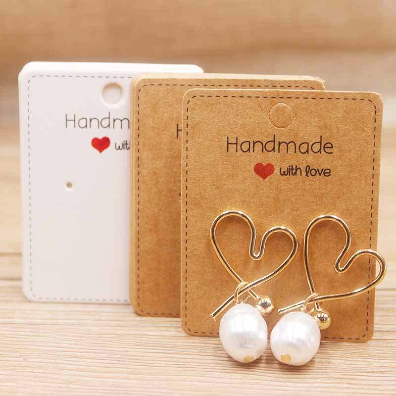 Handmade With Love 50Pcs DIY  Paper Earring Tags Kraft Display Hanging Cards Package For Ear Studs Earrings Jewelry Package