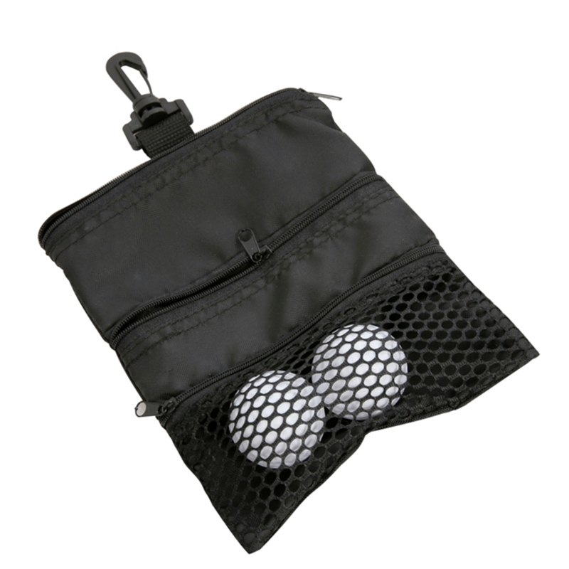 Portable Golf Ball Bags Holder Zipper Mesh Pouch Storage For Outdoor Training Y4UB