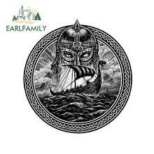 EARLFAMILY – autocollants de voiture, pare-brise, pare-brise, dessin animé, pour dieu, Odin Storm, Sea and Drakkar, 13cm x 12.3cm, pour réfrigérateur, décalcomanie étanche