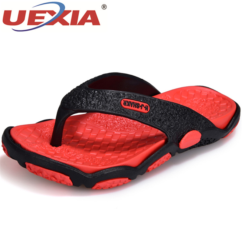 UEXIA Summer Fashion Outdoor Beach Shoes Men Casual EVA Footwear Breathable Flip Flops Non-Slip Flats T-Strap Slippers Sandalias