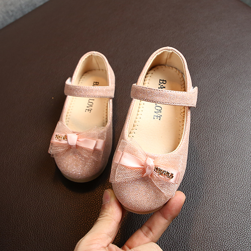 Spring Autumn Kids Shoes For Baby Girl Toddler Girls Single Shoes With Bow-knot Princess Sweet Children Flat Shoes