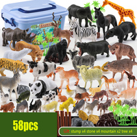 58pcs/set Simulation Wild Jungle Zoo Farm Animal Series Jaguar Collectible Model Kids DIY Toy Early Learning Cognitive Toys Gift