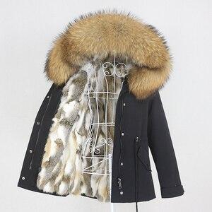 Image 4 - OFTBUY 2020 מעייל נשים אמיתי parka פרווה מעיל גדול טבעי דביבון פרווה צווארון ברדס ארנב פרווה מעיילים חם עבה