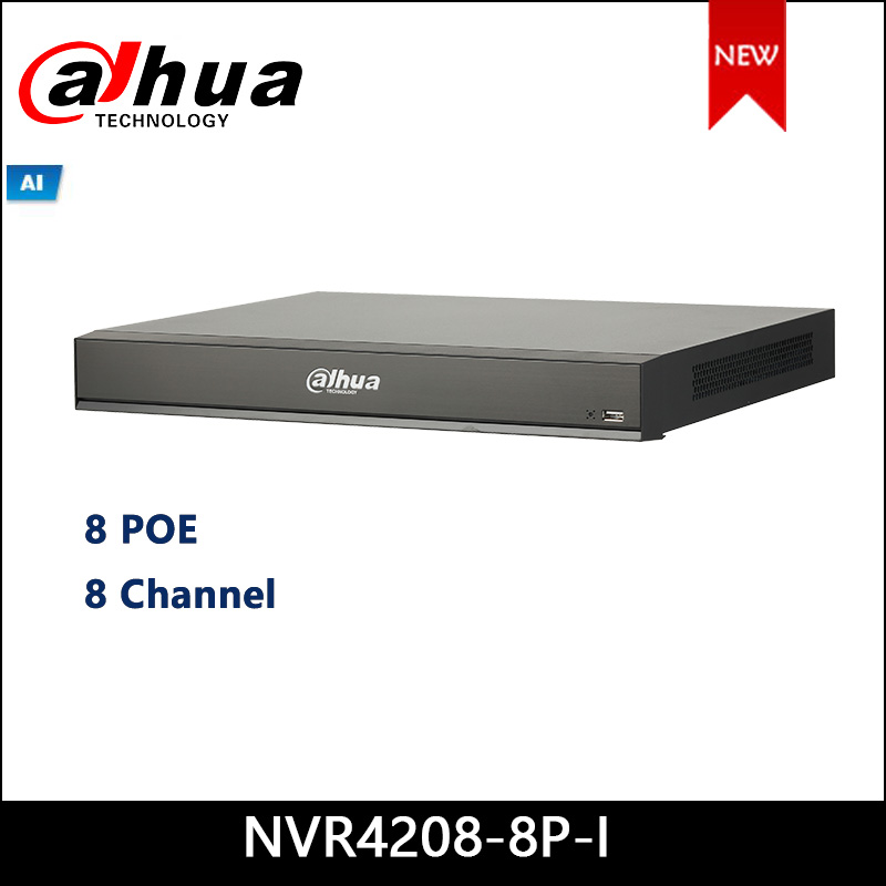 Dahua POE NVR NVR4208-8P-I 8Channel 1U 8PoE AI Network Video Recorder 8 Channel IP video access 1-8 PoE Ports support ePoE & EoC
