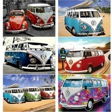 5D DIY Diamond Painting Ancient Bus Full Square Diamond Embroidery Car Diamond Mosaic Color Autos Home Decoration