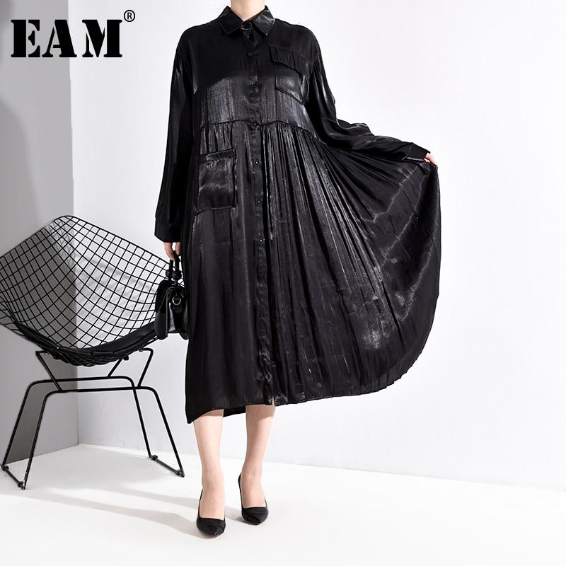 [EAM] Women Black Pleated Stitch Big Size Shirt Dress New Lapel Long Sleeve Loose Fit Fashion Tide Spring Autumn 2020 1R16901