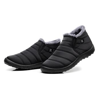 Męskie śniegowce botki zimowe buty Unisex pary nowe jednokolorowe pluszowe wewnątrz antypoślizgowy dół ciepłe wodoodporne buty narciarskie tanie i dobre opinie OrientPostMark BUTY NA ŚNIEG CN (pochodzenie) NYLON ANKLE Stałe Dla osób dorosłych Krótki plusz okrągły nosek Zima