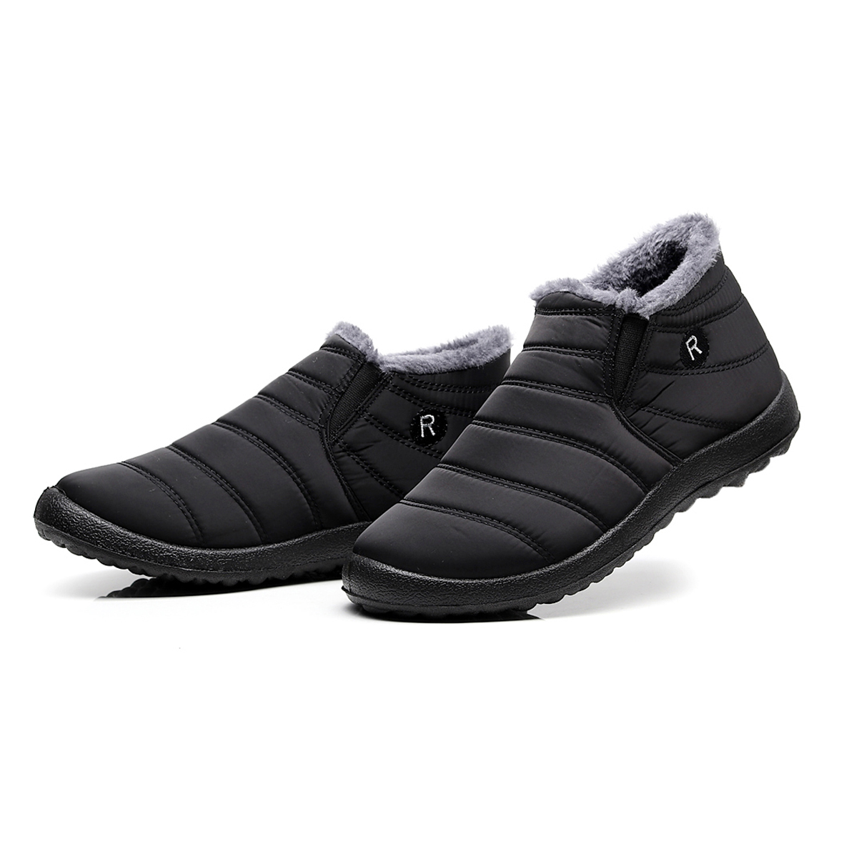 Men Snow Boots Ankle Boots Winter Boots Unisex Couples New Solid Color Plush Inside Anti Skid Bottom Warm Waterproof Ski Shoes