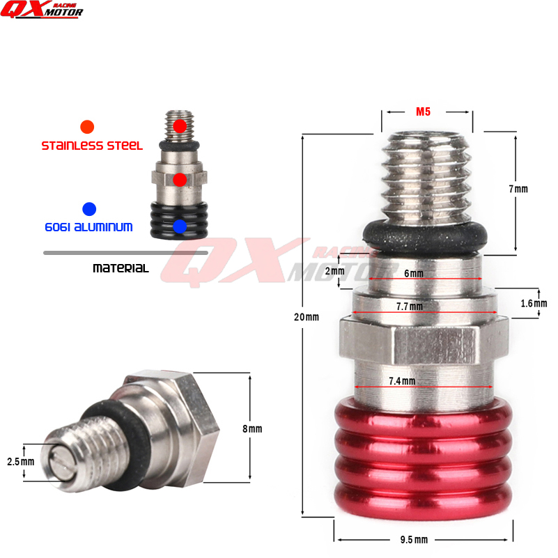 Motorcycle M5x0.8mm Fork Bleeder Relief Valves Fork Relief Valve for CRF YZF KXF RMZ Kayo BSE Dirt Bike Motocross Enduro Supermoto Off Road Gold