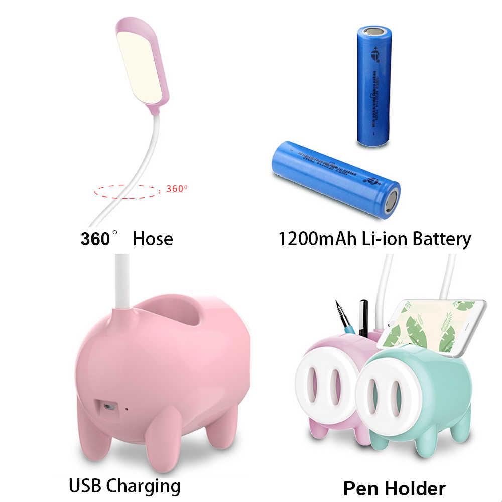 1200 led テーブルランプ豚形状ペンホルダーベース USB 充電タッチ調光スイッチ勉強デスクランプ部屋のベッドサイドランプ