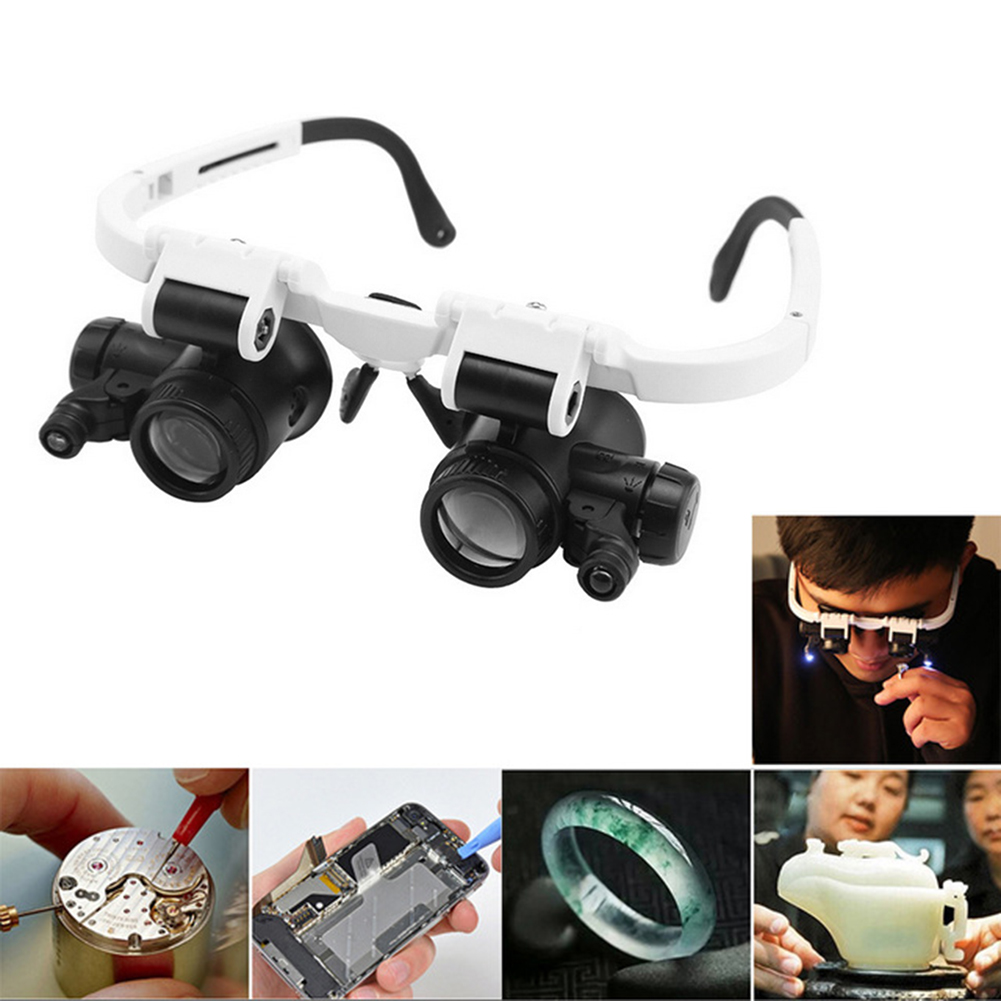 Magnifying glass Glasses loupes Magnifier eyewear with LED lighting Watch Repair 8x 15x 23X Dual Eye Jewelry Loupe Lens
