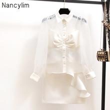 Small fragrance Sets women lapel long sleeve sweet bow shirt white high waist ruffled overskirt suit